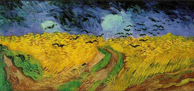 "In one of Van Gogh's last paintings before his death, many have suspected the appearance of crows in this painting ""Wheatfield with Crows"" to signify his troubled mind."