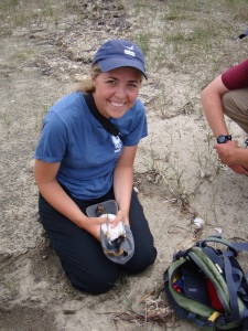 Libby Buck with a newly banded American Oystercatcher chick